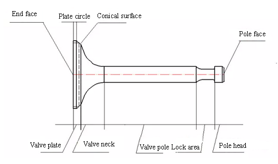 the highest working temperature place of engine valve is valve end face and  valve neck  these parts request high thermal strength and good  anti-corrosion